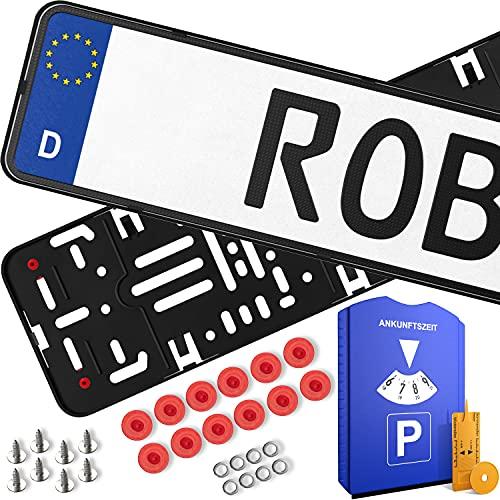 ROBBX® 2x Rahmenlose Auto Kennzeichenhalter | Vibrationsdämpfer für Lackschutz | 5 in1 Parkscheibe | Befestigungskit | Nummernschildhalter werbefrei