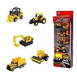 YIJIAOYUN Conjunto de 5 Mini Camiones de construcción, Excavadoras, Camiones de volteo, Bulldozers, Cargadoras de Ruedas, Montacargas - Paquete de Juguetes para vehículos