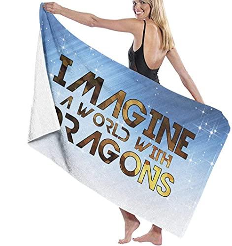BAOYUAN0Toalla de Playa xxlToalla de baño Imagine un Mundo con Dragones Gruesos y Toallas de Playa Grandes 80*130cm Accesorios de Camping Manta de Picnic