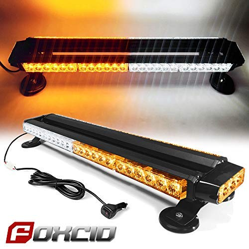 FOXCID White Amber 26 54 LED Emergency Warning Security Roof Top Flash Strobe Light Bar with Magnetic Base, for Plow or Tow Truck Construction Vehicle