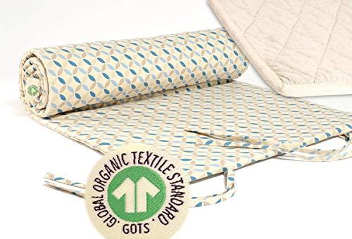 Wohnen & Accessoires GmbH & Co. KG Yogamatte Jaipur, GOTS, Bezug KBA Baumwolle mit kbT Wollfilz Matte, Pure Natur (Muster blau-grau)