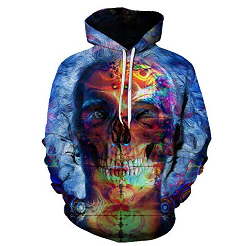 SLYZ Men's Autumn and Winter New Graffiti 3D Printing Men's Hooded Sweater Casual Jacket
