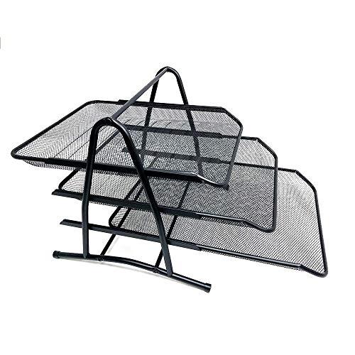 BANDEJA DE DOCUMENTOS STARPLAST - Organizador de escritorio, de metal, para folios, hojas y documentos. Para oficinas o uso personal - Negro 3 Pisos