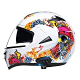 LIYANZWJ Casco de motocross con Bluetooth, casco de cara completa con lente HD y ventilación, casco de motocicleta, moto de montaña, para hombres y mujeres, aprobado por DOT