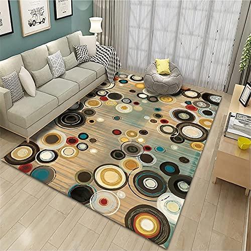 Alfombra habitación,Alfombra de patrón de círculo Amarillo, cojín de Asiento de Oficina Casual Llena Alfombra ,alfonbras de Salon Grandes -Amarillo_200x230cm