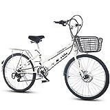 KKLTDI Bicyclette Pliable,Léger Vélo De Ville De Banlieusard 7 Vitesse Facile à Installer pour Adulte Unisexe Blanc 7 Vitesse 24 Pouces