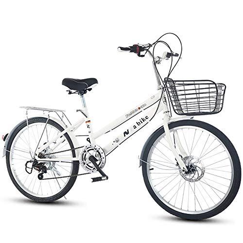 DULPLAY Bicicletta Pieghevole,Leggero Commuter City Bike 7 velocità Facile da Installare per Adulto Unisex velocità Singola Bianca 24 Pollici