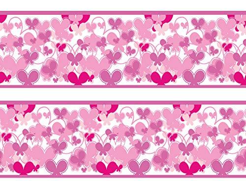 wandmotiv24 Bordüre Schmetterlinge Pink 260cm Breite - Vlies Borte Tapetenbordüre Bordüren Borde Wandborde Muster rosa Mädchen M0028