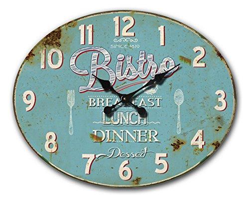 BHP Wanduhr B991755 Arabisches Ziffernblatt Vintage Bistro Dinner Oval Wohnzimmer Büro Küchen Wanduhr Analog Deko Rustikal Eisen Rost Look Blau 49,00 cm 12 Stunden