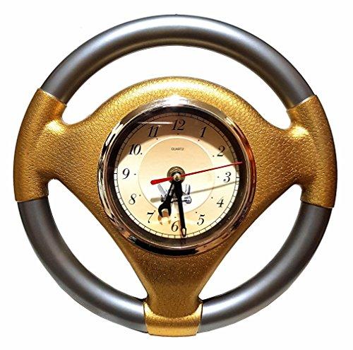 Große Autolenkrad Auto Lenkrad Uhr Wanduhr Garage Büro Werkstatt Bar Deko Werkzeug Mechaniker Wekstattuhr Uhr Clock Goldfarbend 25cm Ø