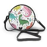 Lindo dinosaurio dibujado a mano, sin costuras, redondo, bolsa cruzada, bolsa de piel sintética con cremallera, bolso de hombro, para teléfono celular, para mujer