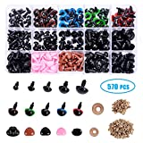 Plastic Safety Eyes and Noses with Washers 570 Pcs, Craft Doll Eyes and Teddy Bear Nose for Amigurumi, Crafts,...
