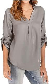WOCACHI Women Blouse 2019 Fall V Neck Zipper Tops T-Shirt Loose Roll Up Long Sleeve Flowy Shirt
