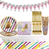 Unicornio Party Supplies Set - YUESEN 47PCS Accesorio de Decoración Fiesta de Cumpleaños Desechable con Platos Servilletas Pancarta Vasos y Mantel Resistente para 6 Invitados