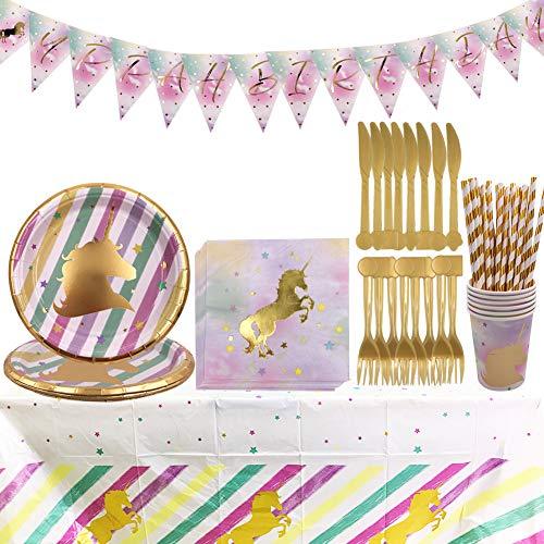 Unicornio Party Supplies Set - YUESEN 47PCS Accesorio de Decoración Fiesta de...