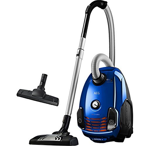 AEG VX6-2-IS-P Aspiradora de Trineo Con Bolsa, 800 W de Potencia, Ruedas 360º, Filtro Higiénico Lavable, Radio de acción de 9m, 77dB de Ruido, Cepillos Suelos Duros y Parquet, Color Azul