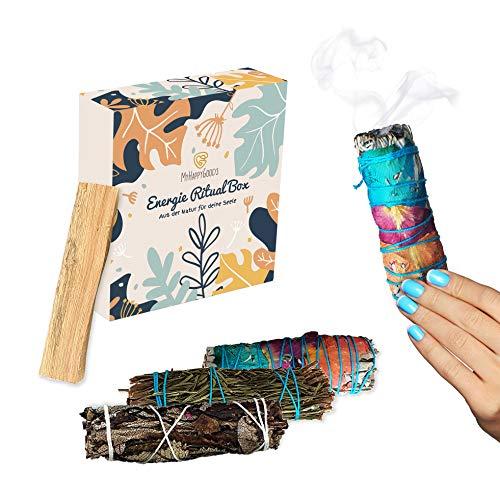 INFARBE Premium Smudge Kit, Räucherset, Räucherstäbchen, Yerba Santa, weißer Salbei, Rosmarin, Palo Santo. ca 11 cm, inkl. Anleitung und Geschenkbox.