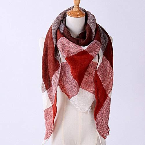 Xiaobing Bufanda de Invierno para Mujer, Chal de Cachemira de imitación para Mujer, Manta, Bufanda, Chal cálido-Rojo-D14