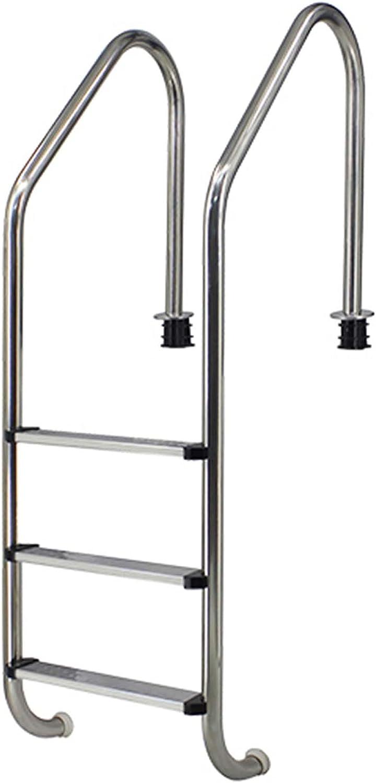 HHXD Escalera de Acero Inoxidable para Piscina con Peldaños Antideslizantes,Escalera Pulida Fácil de Instalar/Thickness 0.1cm / W49.3cm*H157cm