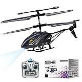 Helicóptero de Control Remoto con Giroscopio y Luces LED de 2,4G, Helicóptero de Altitud Fija de 3,5 Canales, Despegue/Aterrizaje con un botón, Drone para Interiores, Niños y Adultos de Regalo, Negro