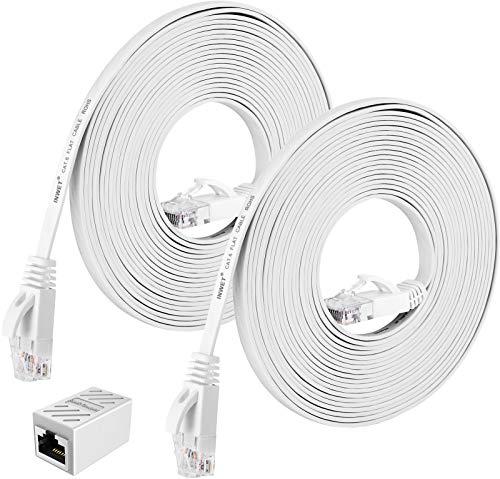 INWET 2 Stück 5m Cat6 Netzwerkkabel | High Speed Ethernet Netzwerk | Patchkabel | 250 MHz 1000Mbit/s Flach LAN Kabel Kompatibel mit Switch/Router/Modem/Patch-Panel | CAT6, AWG32,UTP, RJ45