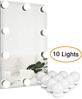 Waneway Vanity Lights for Mirror, DIY Hollywood Lighted Makeup Vanity Mirror with Dimmable Lights, Stick on LED Mirror Light Kit for Vanity Set, Plug in Makeup Light for Bathroom Wall Mirror, 10-Bulb