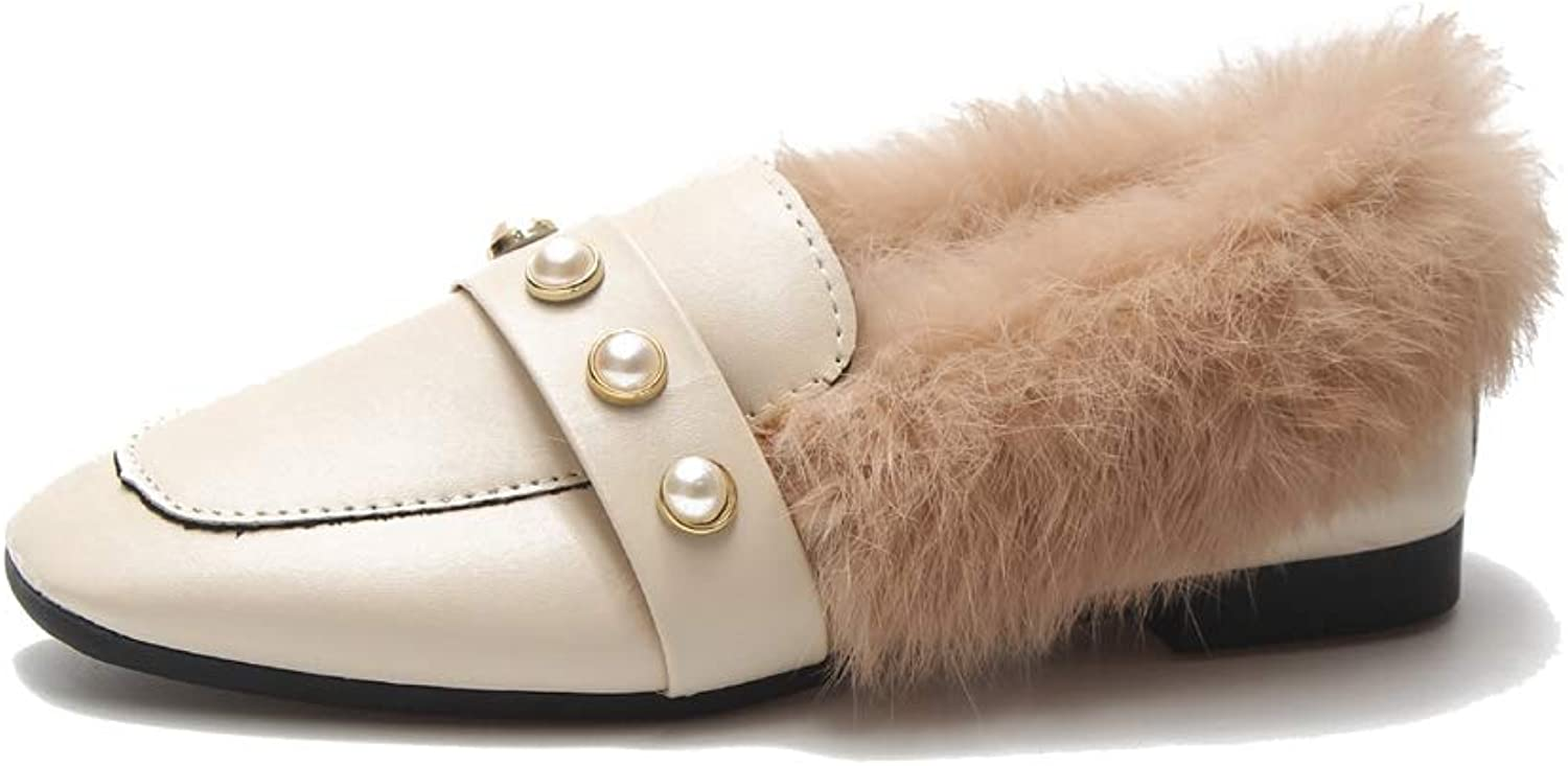 August Jim Women Flats,Autumn Winter Pearls Plush Flat shoes Keep Warm Small Leather shoes