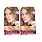 L'Oreal Paris Excellence Creme Permanent Hair Color, 7BB Dark Beige Blonde, 100 percent Gray Coverage Hair Dye, Pack of 2