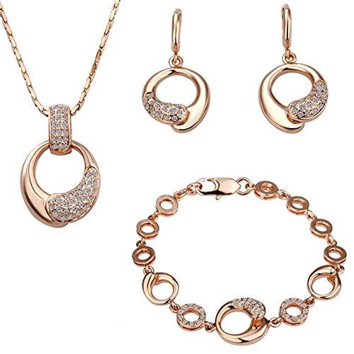 fashionbeautybuy donne cristallo cerchio Hollow Out ciondolo collana placcato in oro rosa orecchini wedding party Jewelry Set corpo catena