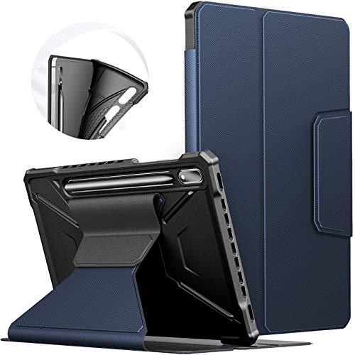 INFILAND Hülle für Samsung Galaxy Tab S7 11 2020, Einzigartig Mehreren Winkeln Schutzhülle Tasche für Samsung Galaxy Tab S7 11 (T870/T875) 2020, Auto Schlaf/Wach,Dunkleblau