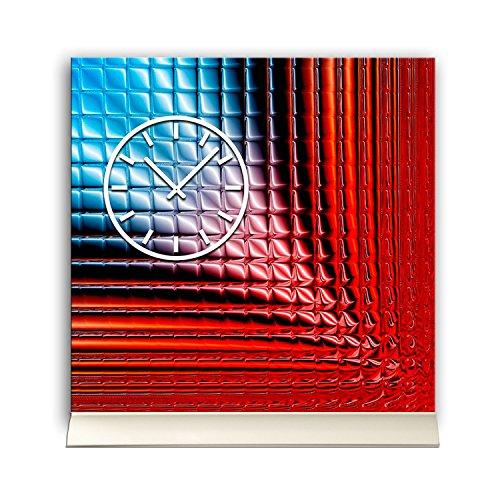 Horloge 30 cm x 30 cm avec support design en aluminium rouge -abstraktes -wanduhr bleu-mécanisme à pendule tU3169 dIXTIME quartz silencieux