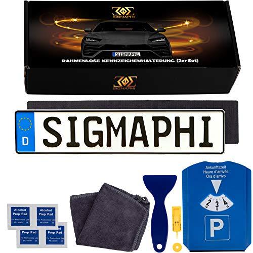 SIGMAPHI 2 x Klett Kennzeichenhalter rahmenlos Set - Nummernschildhalterung Auto - Kennzeichenhalterung rahmenlos mit Klettverschluss – selbstklebendes Klettband für Autokennzeichen