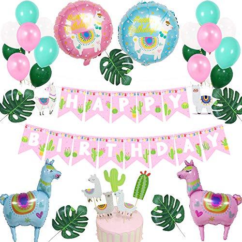 35 Piezas Decoración de Globos de Feliz Cumpleaños, Alpaca Cumpleaños Globos Decoraciones, para Fiesta de Cumpleaños Baby Shower y Llama Fiesta Temática