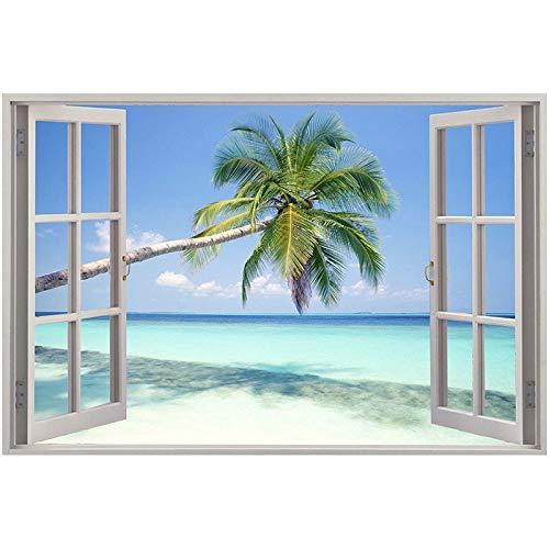 "Taladro redondo 5D pintura de diamantes manualidades ambientales bordado completo de diamantes""ventana paisaje marino"" decoración del hogar A18 40x50cm"
