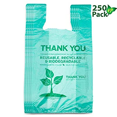 Recyclable Compostable Reusable Biodegradable Bags Grocery Shopping Bags Green, Eco Plastic Bags 250 Pack