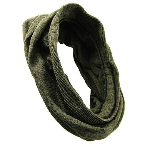 KXX-003 - Fascia per capelli bandana microfibra elastica larga cm 35 con bordi costine - made in Italy - Fasce per capelli (Verde militare)