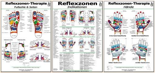 Reflexzonen-Therapie Mini-Poster-Set: Fußsohle & Seiten / Hände / Reflexzonen-Indikationen / 3 Mini-Poster