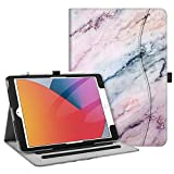 Fintie Case for New iPad 8th Gen (2020) / 7th Generation (2019) 10.2 Inch - [Corner Protection] Multi-Angle Viewing Folio Stand Cover with Pocket, Pencil Holder, Auto Wake/Sleep, Marble Pink