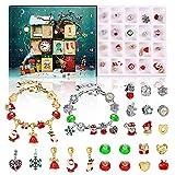 Sakmilu - Braccialetto con ciondoli per calendario dell'Avvento 2021, calendario dell'Avvento per ragazze, set da 24 braccialetti fai da te per conto alla rovescia per Natale