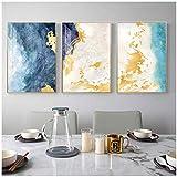 HSFFBHFBH Lienzo Pintura Abstracta soñadora Azul de Oro Moderna Cuadros Arte Grande del Cuadro de la Pared de la Sala de Estar Amarillo pósteres y láminas 60x80cm (23.6'x31.5) x3 Sin Marco
