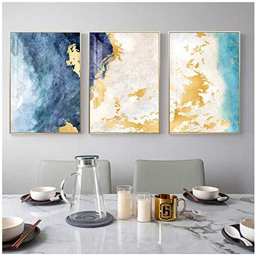 """HSFFBHFBH Lienzo Pintura Abstracta soñadora Azul de Oro Moderna Cuadros Arte Grande del Cuadro de la Pared de la Sala de Estar Amarillo pósteres y láminas 50x70cm (19.7""""x27.6) x3 Sin Marco"""
