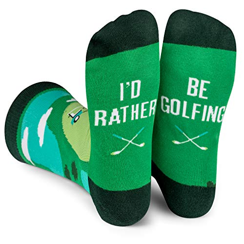 Lavley - I'd Rather Be - Funny Novelty Socks For Men & Women (Golf Hunting Camping Fishing Biking Gaming Watching Sports) (Golf)