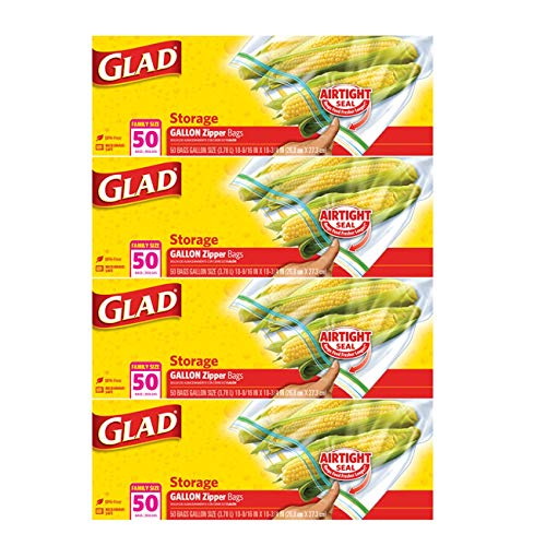 Glad Zipper Food Storage Plastic Bags - Gallon Size - 50 Count, Pack of 4 (Package May Vary)