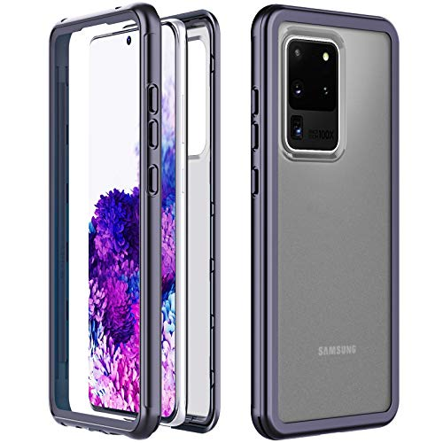 Temdan Kompatibel mit Samsung Galaxy S20 Ultra Hülle, Bumper Matte Handyhülle Ohne Bildschirmschutz Heavy Duty Fallschutz Schutzhülle für Samsung Galaxy S20 Ultra 6,9 Zoll (Schwarz+ Matt)