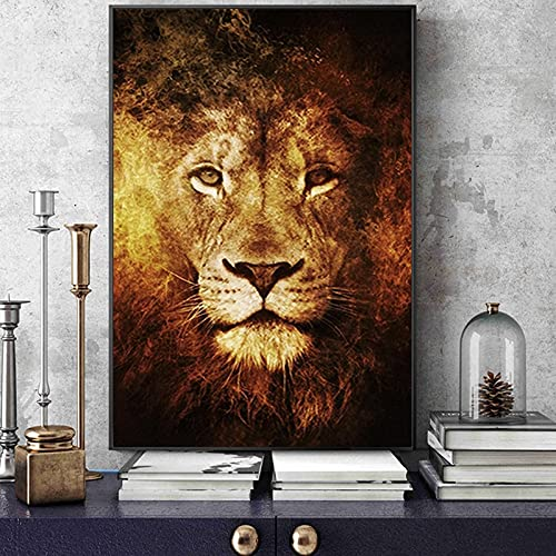 AJleil DIY Dipingere con i Numeri Judah Lion Art Painting Abstract Lion Nordic Art Picture Pittura Digitale per Numero con Pennello e Kit di Pittura acrilica50x70cm(Nessuna Cornice)