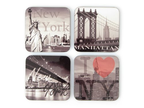 4 Stück Shabby Vintage GLASUNTERSETZER Untersetzer aus Holz New York Manhattan USA Geschenkidee Amerika
