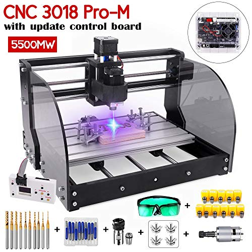 2-in-1 5500mW Engraver CNC 3018pro-M Engravering Machine, GRBL Control 3 Axis DIY Mini CNC Machine Wood Router Engraving Machine with Offline Controller + ER11 Extension Rod
