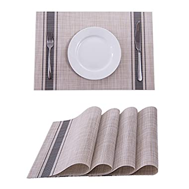 Set of 4 Placemats,Placemats for Dining Table,Heat-resistant Placemats, Stain Resistant Washable PVC Table Mats,Kitchen Table mats(Dark Gray)