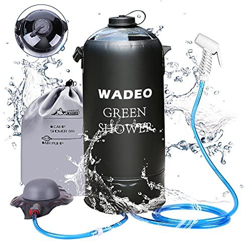 WADEO Ducha de camping con bomba, ducha a presión, bolsa de viaje, 12 litros, con cabezal de ducha, manguera portátil y extraíble, bolsa de ducha para senderismo, al aire libre, escalada (negro)