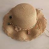 NEC Sombreros de paja sólida para bebé, niña, para verano, con ala ancha, para playa, al aire libre, con lazo, de paja, -2, talla única